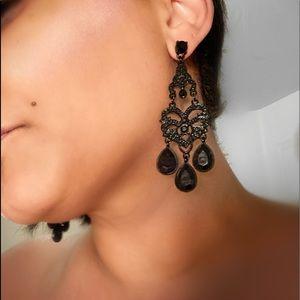 All Black Chandelier earrings.